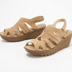 Skechers Suede Peep-toe Sling-back Wedges - Stylin